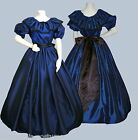 Ladies Victorian or American Civil War 3pc costume fancy dress size 22-32 blue