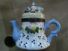 Miniature Tea Pot with a Tea Set on Top Hinged Trinket Box - Excellent!