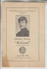 1934 PROGRAM - ASSOCIATE ALUMNAE OF VASSAR COLLEGE - CHRISTINE RAMSEY IN REBOUND