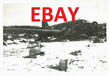 WWII RARE PHOTO 8TH USAAF 458TH BG GROUND RECON CRASHED GERMAN AIRCRAFT ETO #4