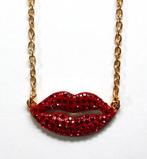 Butler and Wilson Red Crystal Enamel Lip Pendant Chain Necklace NEW