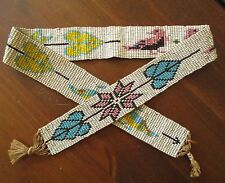 Great Plains Indian Native American Pictorial Bird Flower Beaded Hat Band 1920s