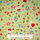 Flannel Fabric - Christmas Santa's Workshop Elf & Toys Green - Riley Blake YARD