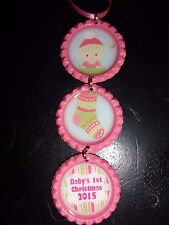 Baby's First Christmas Girl 2015 Pink Bottle Cap Christmas Ornament * new