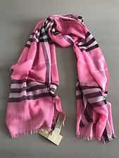 Burberry Check Lightweight Scarf / Rose Pink / Wool ~ Silk NWT!