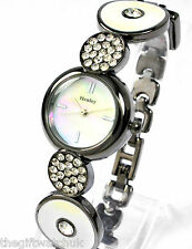Henley Ladies Quartz Crystal Dress Watch, White & Gunmetal Art Deco Design