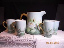 VINTAGE BAVARIA LEMONADE CIDER SET~PITCHER & 6 CUPS~MARSH SCENE CATTAILS & DUCKS