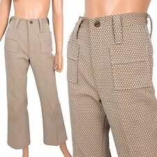 Vtg 70s BELL BOTTOM PANTS Textured Double Knit Polyester Disco Hipster Brown - S