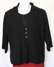 New Denim & Co. Cardigan & Shell Tank Twinset Mixed Stitch Black 2 Piece QVC S M