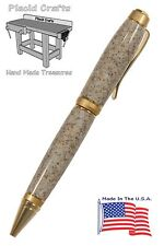 Hand Made Ball Point Pen with Two Tone Gold with Sand Solid Surface Body #046
