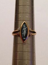 Charming Vittoriano 18ct GOLD Marquise HARDSTONE Anello con Cameo-London 1896