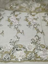 "WHITE MESH W/WHITE SILVER GOLD EMBROIDERY  SEQUINS LACE FABRIC 52"" WIDE 1 YARD"