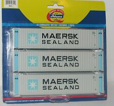 """ATHEARN 2852---3 PACK--MAERSK 45' """"Dry Box"""" Containers --New Old Stock  HO SCALE"""