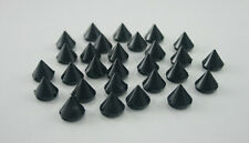100 Black Rivet Stud Spikes - 10mm - Sew Glue on -  Acrylic - Rivets Studs Spike