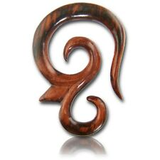 LONG PAIR 6G (4MM) SPIRALS SONO WOOD TALONS PLUGS EAR PLUG HANGER GAUGE TRIBAL
