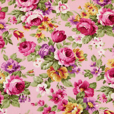 Cotton Fabric by FQ Rose Flower Bouquet Shabby Vintage Retro Chic Dress VK9 Pink