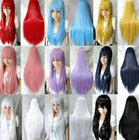 "32"" Women Long Straight Cosplay Fashion Cosplay Costume Wig heat resistant Hair"