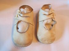 Antique Victorian Child Girl baby doll Shoes White Leather 2 button High Tiny