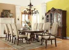 Formal Luxury Traditional 9Pc Dining Set Dark Table Linen Chair Chairs Furniture