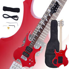 New Flame Type Electric Guitar Red +Gigbag +Strap +Cord +Pick +Tremolo Bar
