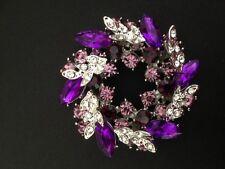 Silver Plated Wreath Purple Rhinestone Crystal Bridal Brooch Pin