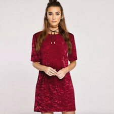 Womens Ladies Crushed Velvet Casual Tops T-Shirt Loose Long Top Blouse Dress Tee
