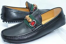 Gucci Men's Shoes Black Loafers Drivers Nappa Moorea Size G 11 Leather NIB