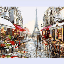 """20""""*16"""" DIY CANVAS PARIS STREET PAINT BY NUMBER ACRYLIC PAINTING KIT ROOM DECOR"""