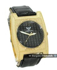 men's diamond gold tone black dial clubbing watch warranty 2 leather deluxe set