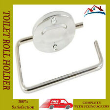 NEW CHROME METAL WALL MOUNTED TOILET PAPER LOO ROLL HOLDER WITH SCREWS FITTINGS