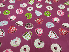 Purple, Tasty Doughnut & Coffee Printed Polycotton Fabric