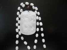 natural hand-carved Chinese white hetian nephrite jade pendant dragon necklace