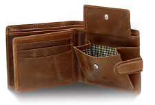 STARHIDE MENS DISTRESSED BROWN LEATHER WALLET ID & COIN POCKET BOXED 1212-HUNTER