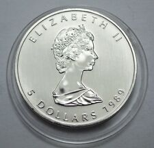 1989 Canada Maple Leaf Coin 1 oz Silver One Troy ounce .9999  5 Dollars