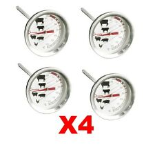 4 x Meat Thermometer Poultry BBQ Oven Temperature Cooks Probe Stainless Steel