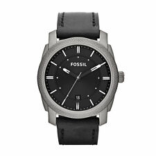 Fossil Titanium Black Leather Mens Date Watch TI1001 NEW! Low Inter Shipping!