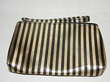 Napoleon Perdis BLACK GOLD Stripes Polyester Canvas Makeup Cosmetics Bag New