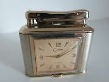 Vintage Colibri Monopol Clock Petrol Table Lighter RARE