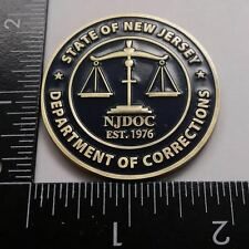 "NJDOC New Jersey Department of Corrections EST 1976 2"" Coin Antique Brass Cell"