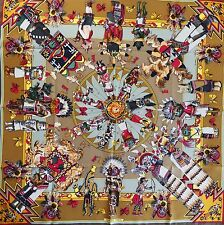 NEW Collectors HERMES Kachinas SILK SCARF Kermit Oliver Native Hopi Kachina Doll