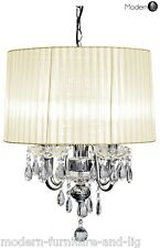 CRYSTAL DROPLET 4 LIGHT CHANDELIER WITH CREAM RIBBED SHADE, CREAM CEILING LIGHT