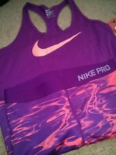 Women's Nike pro shorts and tank set purple pink M athletic wear gym fitness