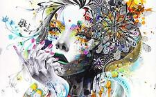 ABSTRACT GIRL FLOWERS COLOURFUL PAINT Large Wall Canvas Picture 20x30 Inch