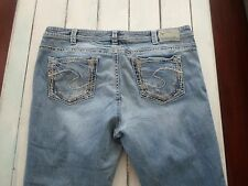 WOMEN SILVER AIKO BOOT JEANS TAG: 20 - ACTUAL SIZE 42X29 DESTROYED PLUS SIZE