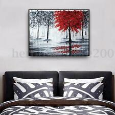 Modern Oil Painting on Canvas Landscape Red Tree Black Forest Wall Art Decor AU