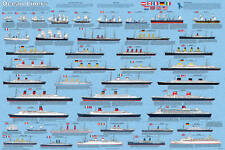 Ocean Liners Educational Ships Boats Classroom Chart Poster 24x36