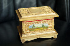 Vintage Russian Hand Carved Painted Wooden Jewelry Trinket Box Casket Antique