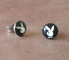 Playboy Bunny Logo Black and White Stainless Steel 8mm Stud Earrings Jewelry