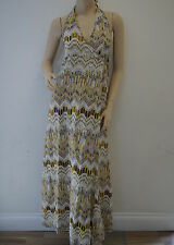 TOPSHOP Yellow Geometric Tribal Printed Halterneck Maxi Dress Size 10 NEW PE3