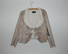 NWT Coffeeshop Faux Suede fur lined ruffled front cropped coat L Retail $109